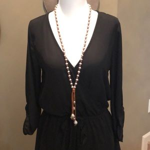 Chan Luu leather and pearl necklace
